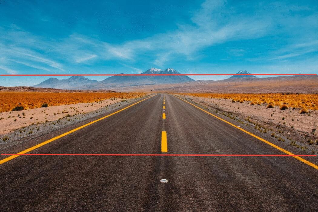 Observa la conformación de la regla de horizontes, para fotografías más equilibradas